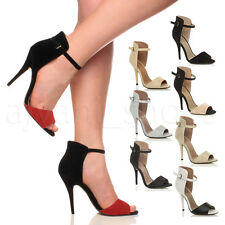 WOMENS LADIES HIGH HEEL STILETTO PEEP TOE ANKLE STRAP CUFF SANDALS SHOES SIZE