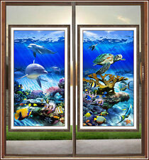 Ocean Stained Glass Window Film Adhesive-Free Dolphin Sea Turtle Fish Cling