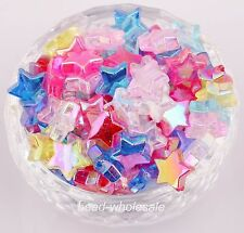 50pcs Mixed Random Star Shape Pentacle-Shape AB Color  Acrylic Spacer Beads 11mm