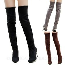 Ladies Vintage Shoes Thigh Length Over Knee High Heels Womens Winter Boots 34-43