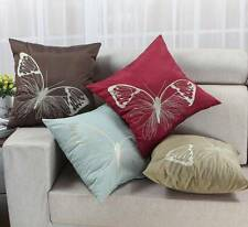 "Cushion Covers Pillows Shell Various Colors Vivid Butterfly Embroidery 18"" X 18"""