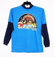 Angry Birds Star Wars Boys Blue Graphic Hoodie Shirt Top Long Sleeves Size 14/16