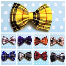 "♥SMALL HANDMADE TARTAN CHECK PLAID COTTON 3"" BOW HAIR CLIP CUTE VINTAGE RETRO"