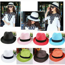 Unisex Women's Men's Brim Summer Beach Sun Panama Hat Straw Floppy Cap Trilby
