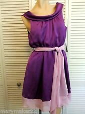NWT-TEEZE ME DRESS JR 1/3/5/7/9/11 PURPLE & LAVENDER SLEEVELESS SATIN w CHIFFON