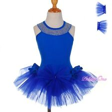 Rhinestone Girl Halter Ballet Tutu Dance Fairy Costume Pageant Kid Size 3T-8 054