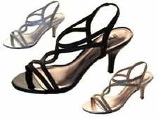 Ladies Shoes Inniu Alexis Black Gold Silver Strappy Heels Glitter Sandals 5-10