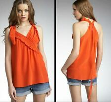 Nanette Lepore Top Blouse Silk Orange Size 6 8 10 NWT Tank Summer Tunic Medium
