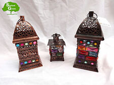 Moroccan Bejewelled Hanging Rustic Lanterns + 2 Free Tealight Candles