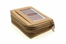 Genuine Leather Credit Card Holder Case Double Zip Around ID Outside Men Women