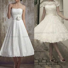 Hot Sell Vintage Tea Length Lace Wedding Dress Bridal Gown US 4 6 8 10 12 14