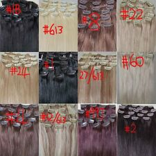 "AAA+ 20""-26"" Remy Human Hair Clips In Extensions Straight 16Clips 105g"