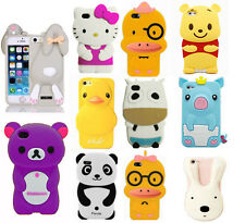 New 3D Qute Mix Cartoon Animals Soft Silicone Case For Apple iPhone 4 4S/5 5S/5C