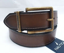 NAUTICA Men's Belt *Brown/Black Reversible w/Gold Tone Buckle* Sz 32 34 36 38 40