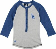 Adidas MLB Baseball Girls Los Angeles Dodgers Classic Baseball Shirt, Gray