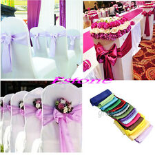 One Satin Chair 15cm X 275cm Cover Sash Bow Wedding Party Colors Decorations