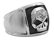 Harley-Davidson Men's Bar & Shield Skull Cigar Band Ring Stainless Steel HSR0020