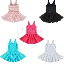 Girls Kids Ballet Dance Dress Tutu Leotard Skate Skirt Dancewear Costume SZ 3-12