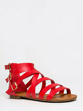 NEW BRECKELLES Women Strappy Gladiator Buckle Flat Sandal Red sz Cherry Covina14