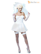 Ladies 80s Madonna Virgin Bride Bridal Fancy Dress Hen Do Disco Pop Icon Outfit