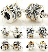New Threaded 925 Solid Sterling Silver European Enamel Beads Duotone Gold Plated