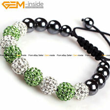 10mm Hematite Pave Disco Ball Beads Clay Rhinestone CZ Crystal Bracelet Gift Box