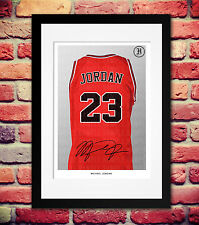 MICHAEL JORDAN 23 CHICAGO BULLS SIGNED AUTOGRAPH PRINT A4 JERSEY PHOTO POSTER