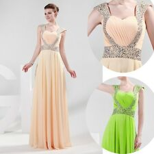 Long Chiffon Sequins Formal Prom Ball Gown Maxi Dresses Bridesmaid Evening Dress