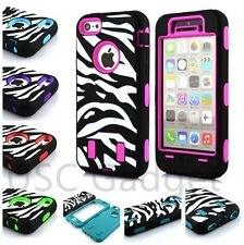 Zebra High Impact Shockproof Rugged combo Hard Case Cover For Apple iPhone 5C US