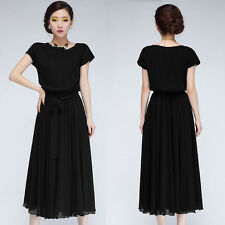 NEW Women Ladies Maxi Chic Chiffon Short Sleeve Long Loose Ball Gown Party Dress