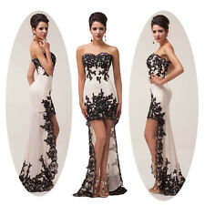2014 Newly High-low Black Lace Chiffon Bridesmaids Cocktail Prom Evening Dresses