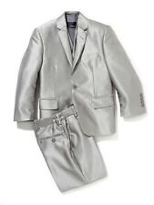 Boys Shinny Gray Suit 3 pcs with Vest and adjustable waist Slim fit Notch Lapel