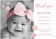 20 x Personalised Baby Thank You/Announcement cards-Boy/Girl