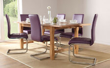 Farmhouse & Perth Extending Oak Dining Table and 4 6 Leather Chairs Set (Purple)