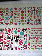 6x SHEETS GIRLS COLOURFUL TEMPORARY TATTOOS WORDS STARS HEARTS SKULLS BUTTERFLY