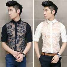 New Men Punk Sexy See Through Lace Leaves Decor Short Sleeve Casual Dress Shirts