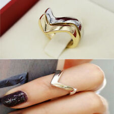 Gold/Silver V-Shape Thin Band Ring Womens Urban Arrow Above Knuckle Midi Rings