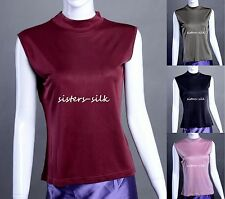 WOMENS GIRLS 100% SILK TURTLE NECK  SHIRT CASUAL TOP BLOUSE TEE SIZE M / US 10