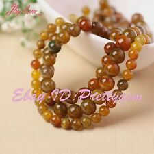 """6,8,10,12,14MM CRACKED ROUND CANDY COLOR AGATE LOOSE GEMSTONE BEADS STRAND 15"""""""