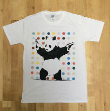 Panda Bear With Guns By Banksy - With Dots Graffiti - Mens White Banksy T-Shirt