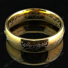 Titanium Stainless Steel Gold Wedding Engagement for Women Men The One Ring LOTR