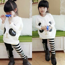 2014 Kids Girls Batwing-sleeved T-Shirts Tops +Striped Pants 2Pcs Autumn Outfits