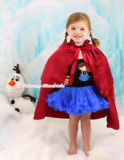 Princess Anna Print Black Blue Halter Dress & Cape Kids Girl Costume Set 1-8Year