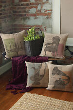 "Downton Abbey Silhouettes Pillow Cover 18"" x 18"" Natural - 4 Styles"
