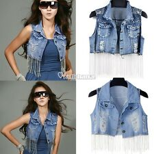 Women Gothic Punk Studded Beads Denim Jacket Jean Waistcoat Outerwear Vest Coat