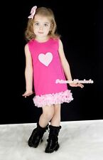 Valentine Hot Pink Tutu Party Dress Skirt Pink Heart Ruffles Girl Clothing 2-6Y
