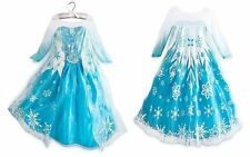 New Girls' Blue Costumes Dresses Pretty Frozen Princess Elsa Dress For3-8 Years