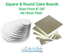 "Cake Boards. Round & Square. 6""-20"" ALL 13mm THICK. Professional Quality Display"