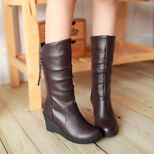 Womens Side Zip Wedge Heel Roma Winter Pleated 2014 Mid Calf Boots Shoes Plus Sz