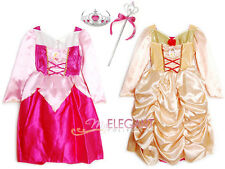 Disney Princess Aurora & Belle Children Girls Gown Party Costume Dress 3-9 Tiara